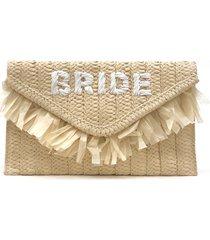 btb los angeles the bride straw clutch - beige