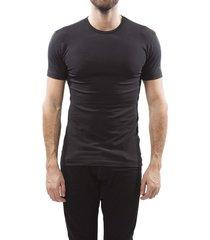 claesens t-shirt stretch round neck black ( 2 pack)