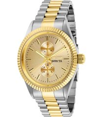 reloj invicta acero dorado modelo 294ar para hombres, colección specialty