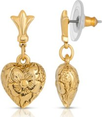 2028 14k gold-dipped textured heart drop earrings