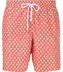 barba turtle print swim shorts - orange
