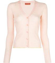altuzarra harwell ribbed knit cardigan - pink