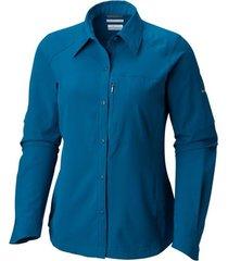 camisa mujer  silver ridge ml azul oscuro columbia