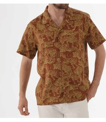 ymc tiger malick shirt - brown p2laa20