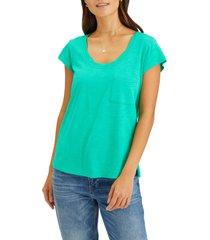 women's sanctuary traveler twist neck cotton blend top, size large - green