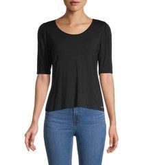 t tahari women's scoopneck elbow-sleeve top - black - size l