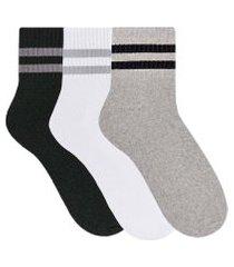 kit 3 pares de meia selene esportiva anatômica cano curto - branco, cinza e preto