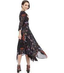 vestido desigual largo negro - calce regular