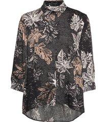 blouse long 3/4 sleeve långärmad skjorta svart betty barclay