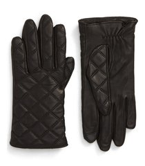 women's nordstrom quilted leather tech gloves, size small - black