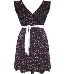 mini vestido lunares sarab /v011el -negro y blanco