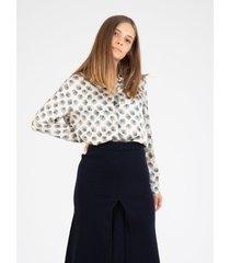 leaf patterned champagne shirt