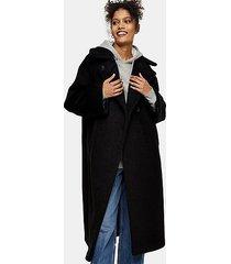 black fluffy oversized coat - black