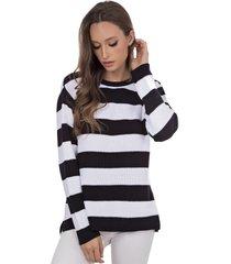 blusa myah érica preto e branco listrada em tricô