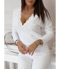 camiseta de manga larga con cuello en v profundo de encaje