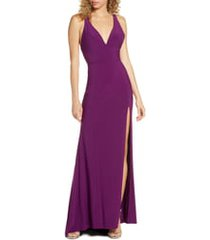 women's mac duggal deep v-neck slit jersey gown, size 0 - purple