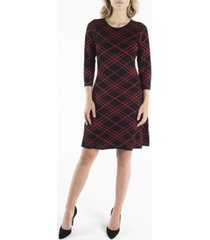 nanette nanette lepore 3/4 sleeve jewel neckline fit and flare sweater dress