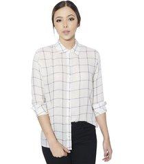 camisa a cuadros gaby para mujer - color blanco
