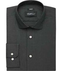 awearness kenneth cole black woven mini check slim fit dress shirt
