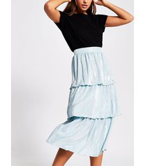 river island womens green pleated jersey frill midi skirt