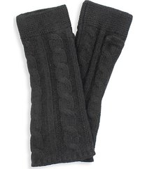 portolano women's cashmere chunky arm warmers - black