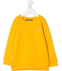 acne studios mini fairview face motif sweatshirt - yellow
