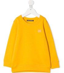 acne studios mini fairview face motif sweatshirt - yellow