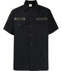 maharishi patch-embellished military shirt - black