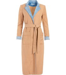 alice+olivia verna two-tone robe dress - brown