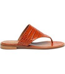croc embossed flat thong sandals