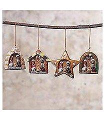 ceramic ornaments, 'happy parties' (set of 4) (peru)