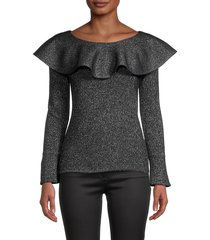 qi cashmere women's ruffled cashmere & lurex top - black - size s