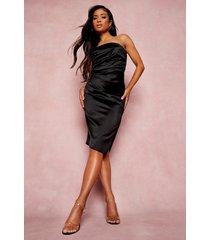 petite strapless satijnen wikkel bodycon jurk, black
