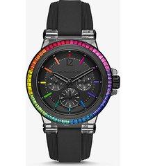 mk orologio dylan oversize con cinturino in silicone e pavé arcobaleno - nero (nero) - michael kors