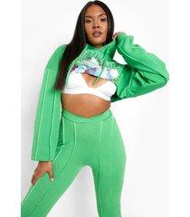plus korte hoodie met opdruk en naaddetail, green
