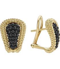 women's lagos gold & black caviar tapered omega earrings