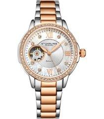 stuhrling women's rose gold - silver tone stainless steel bracelet watch 36mm