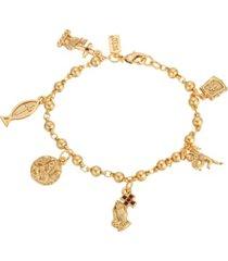 14k gold-dipped religious charm bracelet
