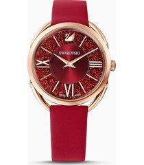 orologio crystalline glam, cinturino in pelle, rosso, pvd oro rosa