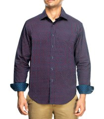 tallia men's slim fit houndstooth print long sleeve shirt and a free face mask