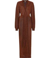 oséree metallic effect tied waist robe - brown
