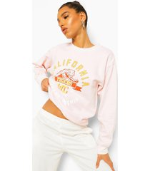 oversized gebleekte california sweater met tekst, ecru