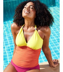 colourblock underwire shaping halter one-piece swimsuit d-gg