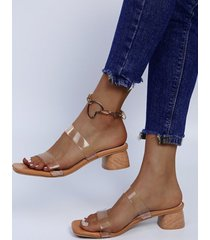 punta cuadrada, grano de madera grueso, grueso sandalias