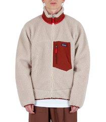 classic retro-x® fleece jacket - cream/brown