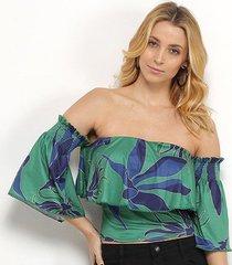 blusa morena rosa cropped tropical ombro a ombro feminina