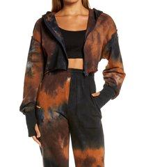 women's by. dyln hazel tie dye crop zip cotton hoodie, size small - brown