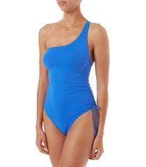 women's melissa odabash polynesia one-strap one-piece swimsuit, size 2 - blue