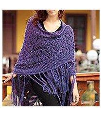 100% alpaca shawl, 'violet garden' (peru)
