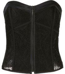 kiki de montparnasse corset com detalhe de fita de gorgorão - preto